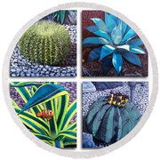 Cactus Close Ups Round Beach Towel