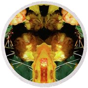 Cactus Flower 08-005 Abstract Round Beach Towel