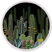 Cactus Garden At Night Round Beach Towel