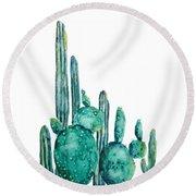Cactus Watercolor 1 Round Beach Towel