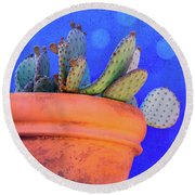Cactus With Blue Dots Round Beach Towel