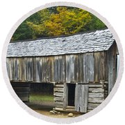 Cades Cove Barn Round Beach Towel