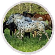 Cades Cove Horses Round Beach Towel