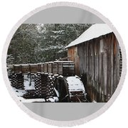 Cades Cove Mill II Round Beach Towel