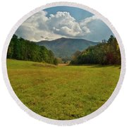 Cades Cove Pasture Round Beach Towel