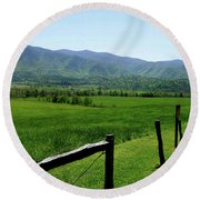 Cades Cove View Round Beach Towel