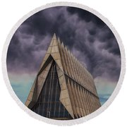 Cadet Chapel At The United States Air Force Academy Round Beach Towel
