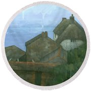 Cadgwith Rooftops Round Beach Towel