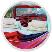 Cadillac Convertible -  A Car Class  Round Beach Towel