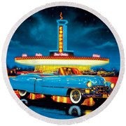 Cadillac Diner Round Beach Towel by MGL Studio - Chris Hiett