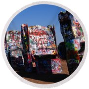 Cadillac Ranch On Route 66 Round Beach Towel