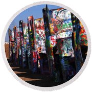 Cadillac Ranch Route 66 Round Beach Towel