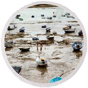 Cadiz Spain Low Tide Round Beach Towel
