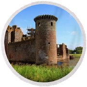 Caerlaverock Castle, Scotland Round Beach Towel