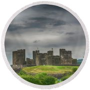 Caerphilly Castle East View 3 Round Beach Towel