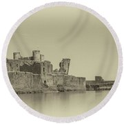 Caerphilly Castle Panorama Antique Round Beach Towel