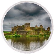 Caerphilly Castle South East View 1 Round Beach Towel