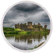 Caerphilly Castle South East View 2 Round Beach Towel