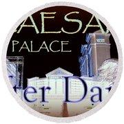 Caesars Palace After Dark Round Beach Towel