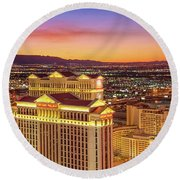 Caesars Palace After Sunset 6 To 3.5 Aspect Ratio Round Beach Towel