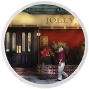 Cafe - Jolly Trolley Round Beach Towel