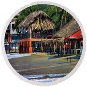 Cafe Beach Bucerias Mexico Round Beach Towel