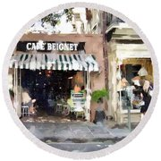 Cafe Beignet Summer Day Round Beach Towel