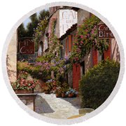 Cafe Bifo Round Beach Towel by Guido Borelli
