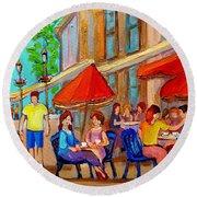 Cafe Casa Grecque Prince Arthur Round Beach Towel