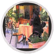 Cafe In Montepulciano Tuscany Round Beach Towel