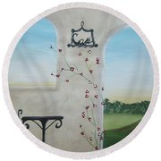 Cafe In Tuscany Round Beach Towel