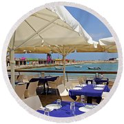 Cafe In White And Purple Round Beach Towel