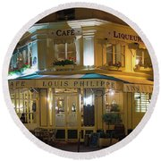 Cafe Louis Philippe Round Beach Towel