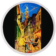 Cafe Of Amsterdam At Night  Round Beach Towel
