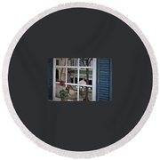Cafe On The Left Bank Of Paris Round Beach Towel