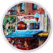 Cafe Piazzetta  St Denis Round Beach Towel