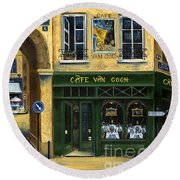 Cafe Van Gogh Paris Round Beach Towel by Marilyn Dunlap