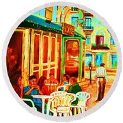 Cafe Vienne Round Beach Towel