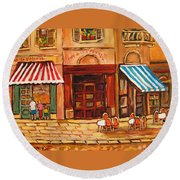 Cafe Vieux Montreal Round Beach Towel