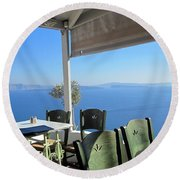 Cafe' With A View Round Beach Towel
