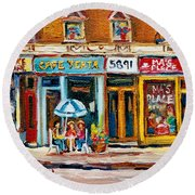 Cafe Yenta And Ma's Place Round Beach Towel