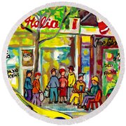 Caffe Italia And Milano Charcuterie Montreal Watercolor Streetscenes Little Italy Paintings Cspandau Round Beach Towel