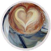 Caffe Vero's Heart Round Beach Towel