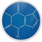 Caffeine Molecular Structure Blueprint Round Beach Towel