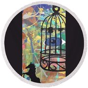 Caged Vision  Round Beach Towel
