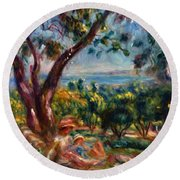 Cagnes Landscape With Woman And Child 1910 Round Beach Towel