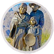 Cahuilla Band Of Agua Caliente Indians Sculpture On Tahquitz Canyon Way In Palm Springs-california Round Beach Towel
