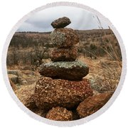 Cairn On The Mountain Round Beach Towel
