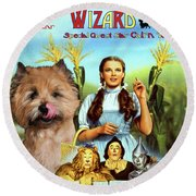 Cairn Terrier Art Canvas Print - The Wizard Of Oz Movie Poster Round Beach Towel