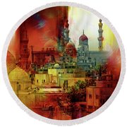 Cairo Egypt Art 01 Round Beach Towel